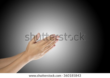 Empty hand showing ,Beautiful woman hand holding isolated on white background - stock photo