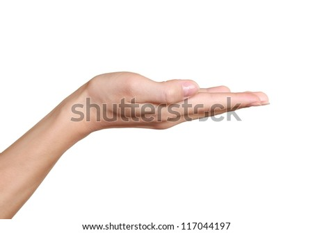 Empty hand showing product isolated on white background - stock photo