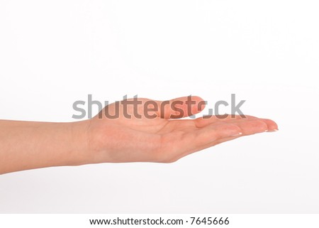 Empty hand with a white background - stock photo