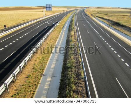 Empty highway in Spain. - stock photo