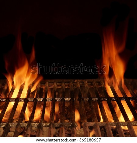 Empty Hot Charcoal Barbecue Grill With Bright Flame Isolated On Black, Frame Square Background Texture. Party, Picnic, Braai, Cookout Concept - stock photo