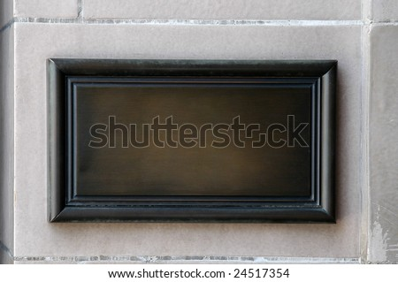 Empty hotel wooden plaque on the wall - stock photo