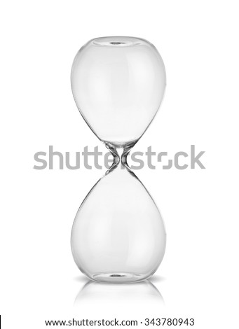Empty hourglass isolated on white background - stock photo