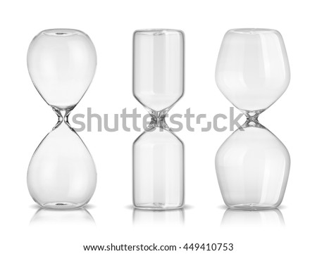 Empty hourglasses isolated on white background - stock photo