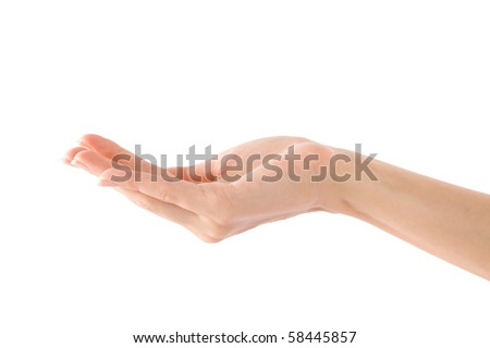 Empty Human Hand (Beauty Woman hand) on isolated white - stock photo