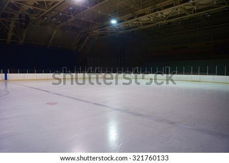 empty ice rink, hockey and skating arena  indoors - stock photo