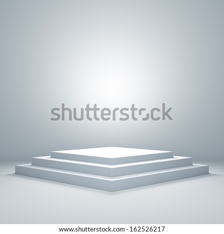 Empty illuminated podium - stock photo