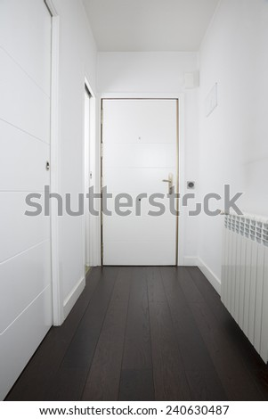 empty interior house hall white door golden handle - stock photo