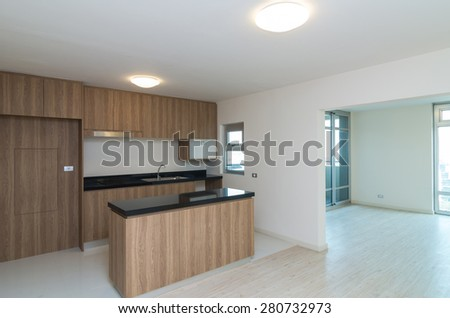 Empty Interior Living and kitchen Room in a new apartment - stock photo
