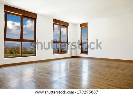 Empty interior room and three windows  - stock photo