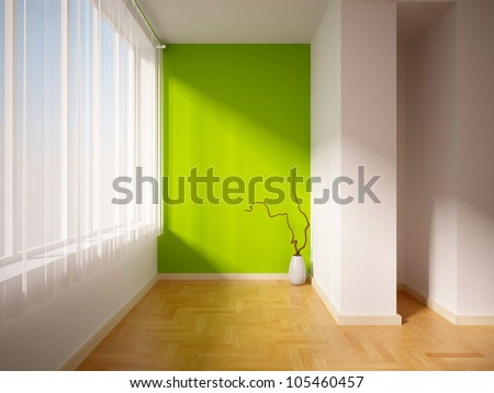 empty interior with a green wall and curtain - stock photo