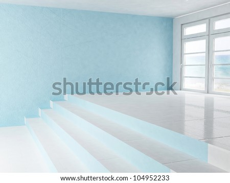 empty interior with a window and a stairs - stock photo