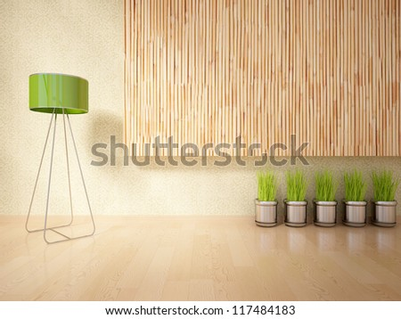 empty interior with a wooden wall and metal lamp - stock photo