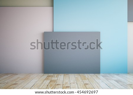 Empty interior with colorful wall, wooden floor and blank dark banner. Mock up, 3D Rendering - stock photo