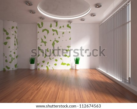 empty interior with green wall - stock photo