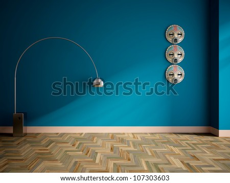 empty interior with lamp and african masks on the wall - stock photo