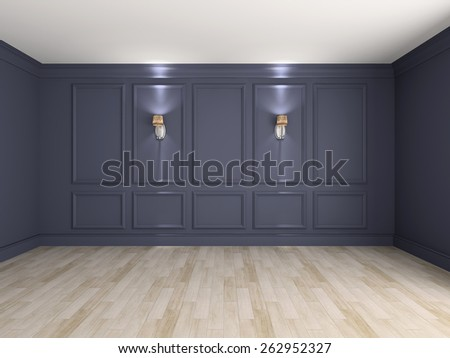 Empty interior with lamps 3d rendering - stock photo