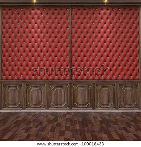 empty interior with leather and wooden wall panels. - stock photo
