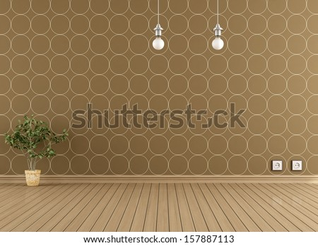Empty interior with parquet floor and modern wallpaper  - stock photo