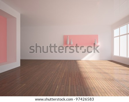 empty interior with pink wall and shelf - stock photo