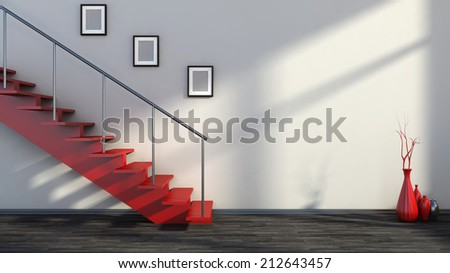 empty interior with red stairs and vase / ATTENTION REVIEWER: Please see Admin about this batch, case #01133144 - stock photo