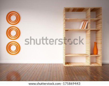 empty interior with shelves and vases - stock photo