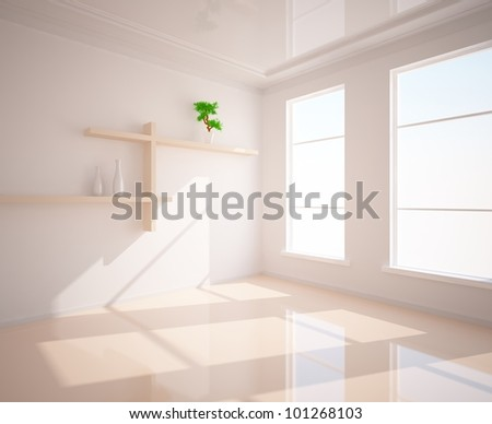 empty interior with shelves on the wall - stock photo