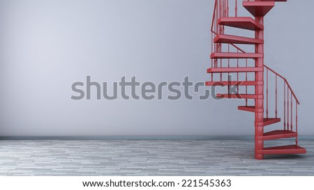 empty interior with spiral staircase. 3D illustration - stock photo