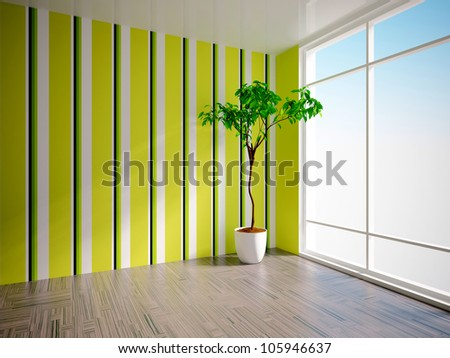 empty interior with tree and striped wall - stock photo