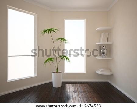 empty interior with wooden floor - stock photo