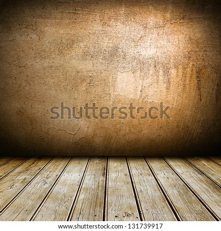 Empty interior with wooden floor and brown wall - stock photo
