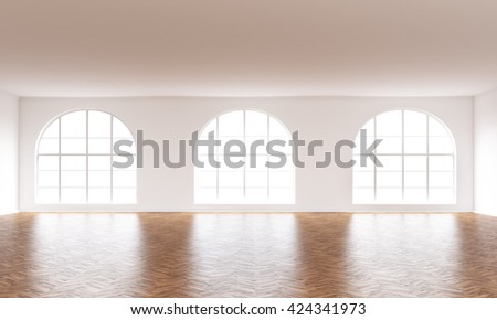 Empty interior with wooden floor, white walls and windows with daylight. 3D Rendering - stock photo