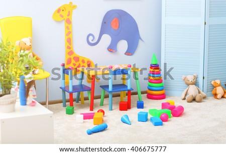 Empty kid's playing room interior - stock photo