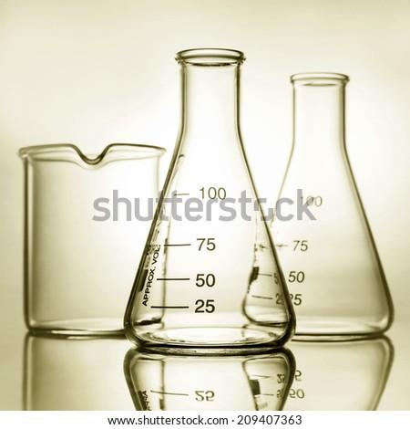 empty laboratory glassware with reflection  - stock photo