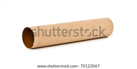empty large tissue paper roll isolated on white background - stock photo