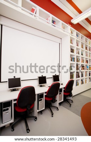 empty library with computers - stock photo