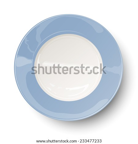 Empty light blue plate with reflections isolated on white background. Raster version illustration. - stock photo