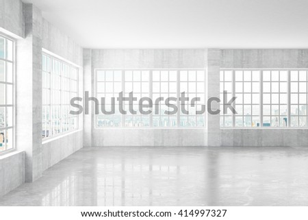 Empty light concrete interior with windows and city view, 3D Rendering - stock photo