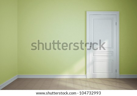 empty light green room with white door - stock photo