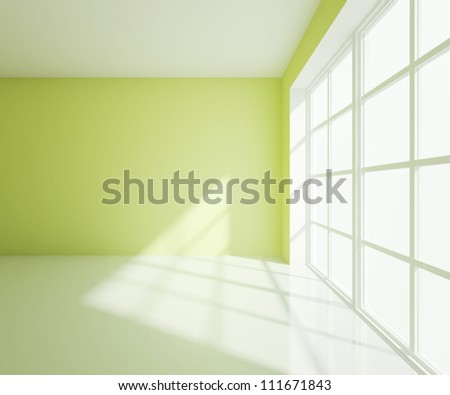 empty  light green room with white window - stock photo