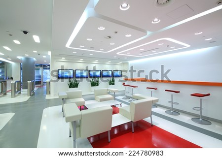 Empty light office in modern style: waiting area  - stock photo
