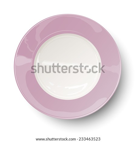 Empty light rosy plate with reflections isolated on white background. Raster version illustration. - stock photo