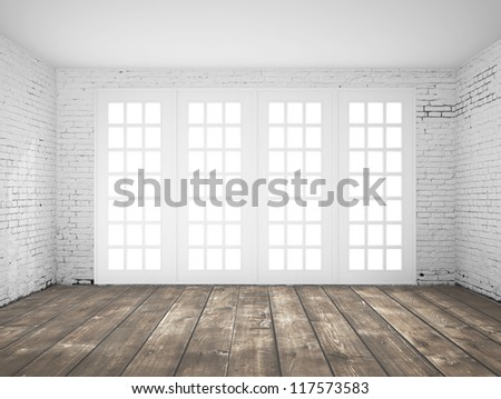 empty  light white interior with window - stock photo