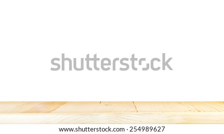 Empty light wood table top isolate on white background, Leave space for placement you background,Template mock up for display of product - stock photo