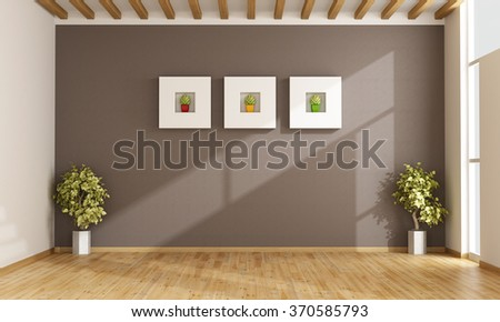 Empty living room with brown wall,windows and parquet - 3D Rendering - stock photo