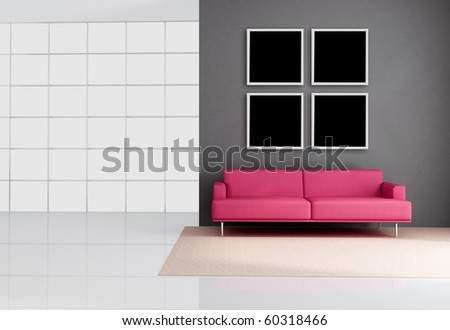 empty living room with leather pink couch - rendering - stock photo