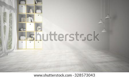 Empty living room with white parquet floor 3D rendering  - stock photo