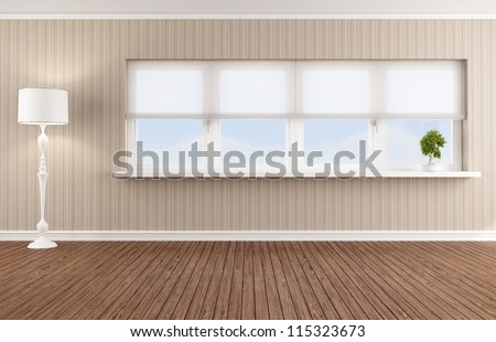 Empty living room with white windows - rendering - stock photo