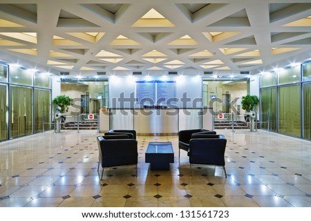 Empty lobby at office building - stock photo