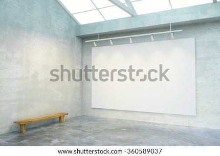 Empty loft room with big blank white poster on the wall and wooden bench, mock up 3D Render - stock photo